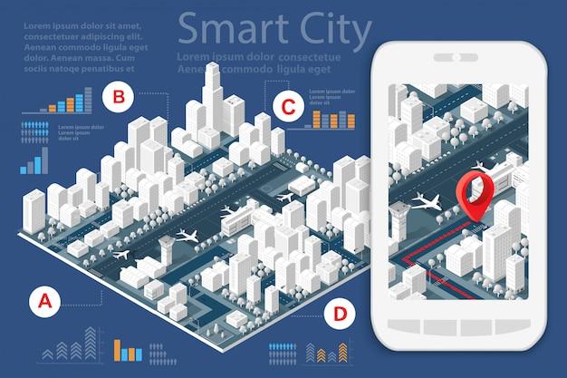 Mappa della città sul design bianco Vettore Premium