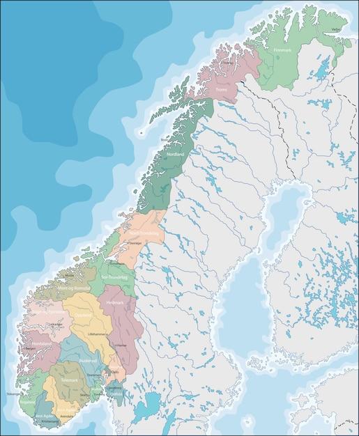 Cartina Della Norvegia.Mappa Della Norvegia Vettore Premium