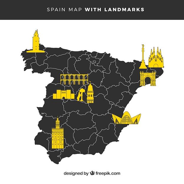 Mappa della spagna con monumenti Vettore gratuito
