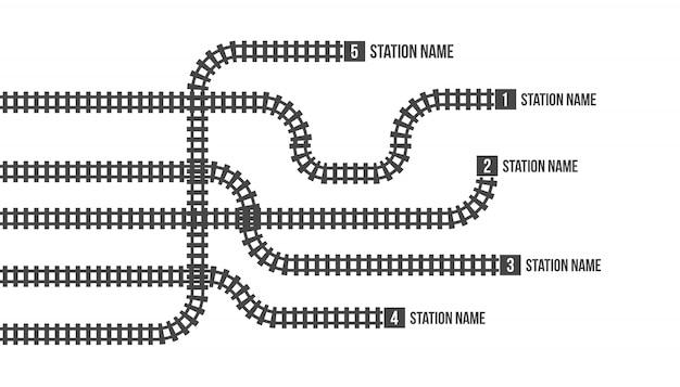 Mappa della stazione ferroviaria, metropolitana, infografica, ferrovia. Vettore Premium