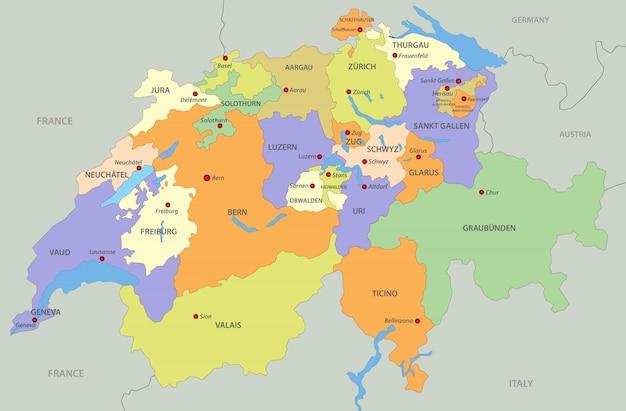 Cartina Della Svizzera.Mappa Della Svizzera Vettore Premium