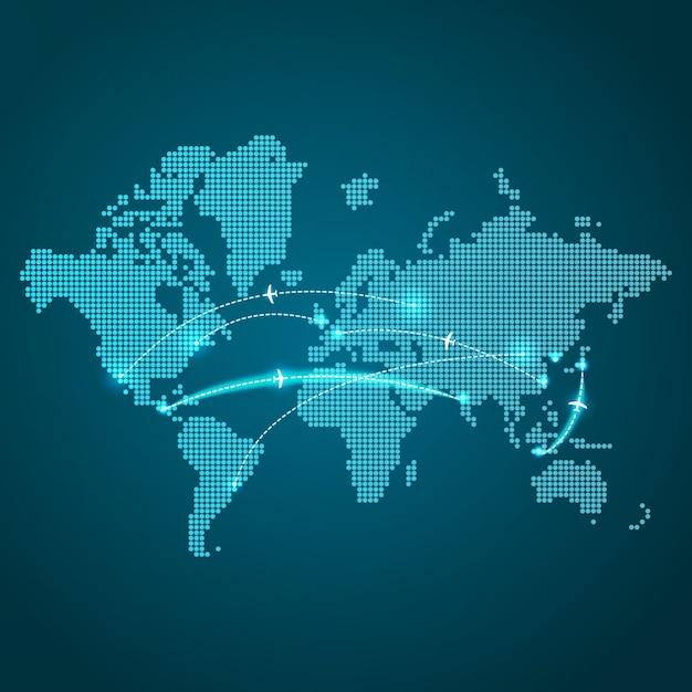 Mappa della terra punteggiata Vettore gratuito