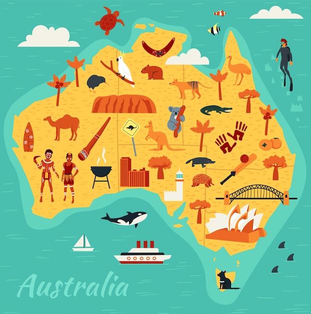 Mappa delle principali attrazioni turistiche dell'australia, illustrazione Vettore Premium