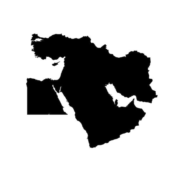 Mappa dettagliata del medio oriente Vettore Premium