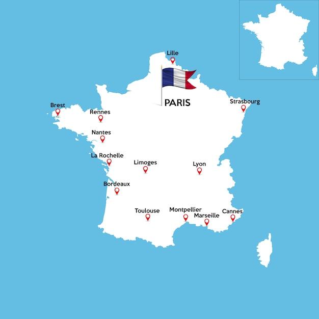 Mappa dettagliata della francia Vettore Premium