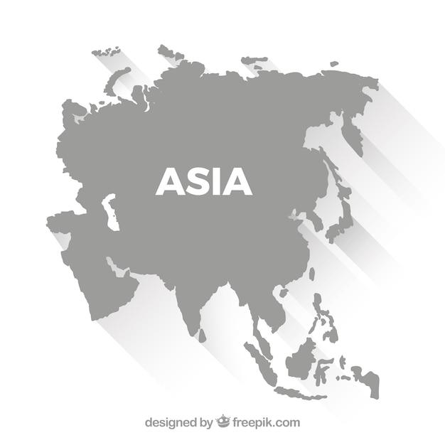 Mappa di asia in stile piano Vettore gratuito