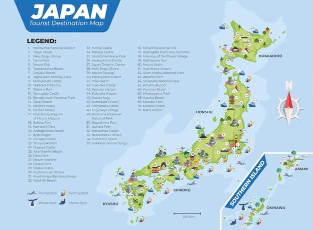 Mappa di destinazione turistica del giappone con dettagli Vettore Premium