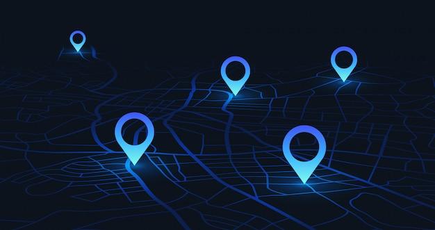 Mappa di localizzazione gps. tieni traccia dei perni di navigazione sulle mappe stradali, naviga nella tecnologia di mappatura e individua il perno di posizione Vettore Premium