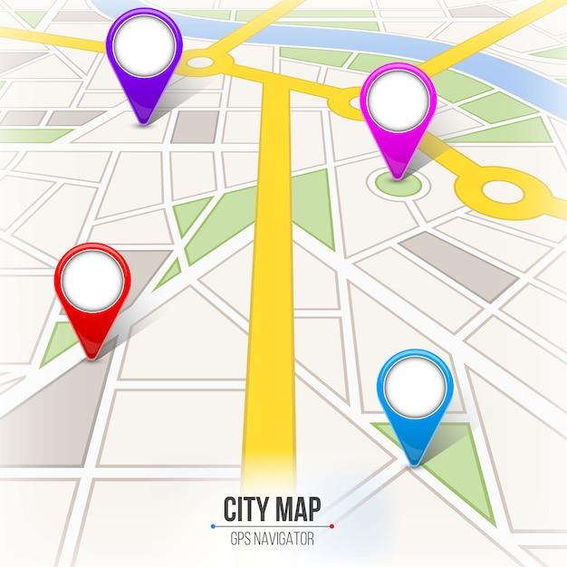 Mappa di navigazione stradale strada infografica Vettore Premium
