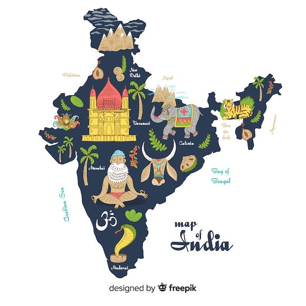Mappa disegnata a mano dell'india Vettore gratuito