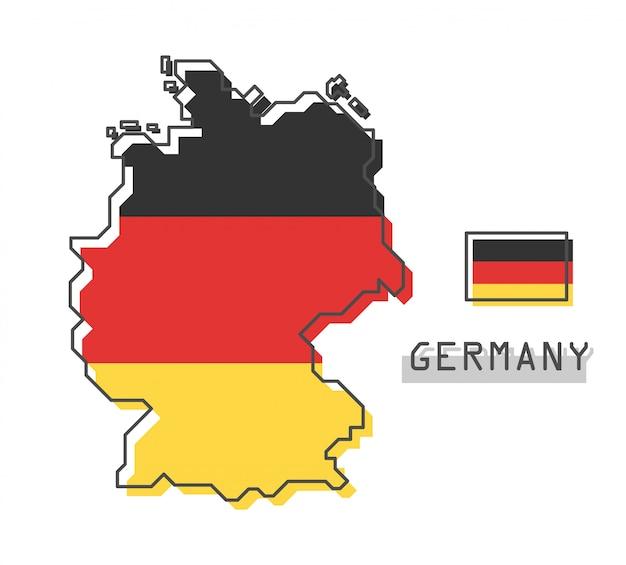 Mappa e bandiera della germania Vettore Premium