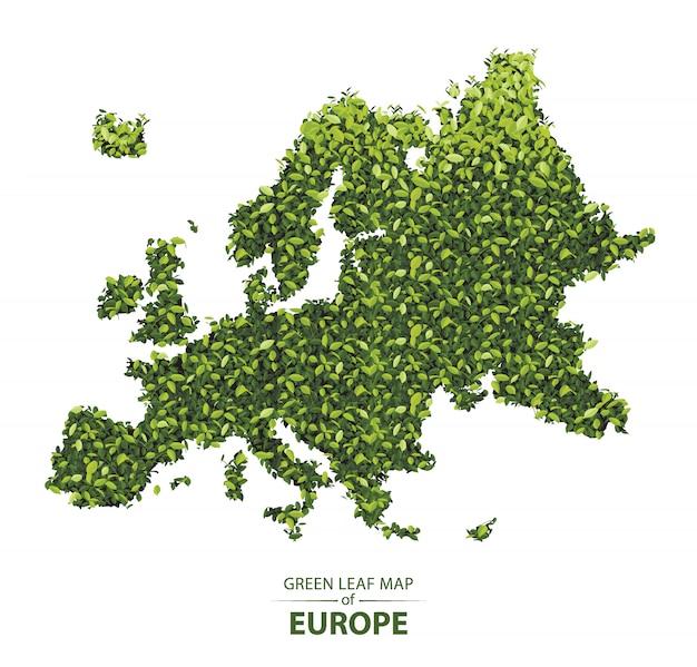 Mappa foglia verde dell'europa Vettore Premium