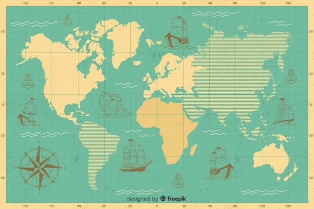 Mappa globale con design dei continenti Vettore gratuito