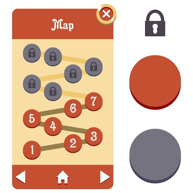 Mappa gui seleziona asset di gioco Vettore Premium