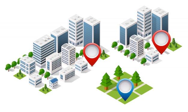 Mappa isometrica città del navigatore Vettore Premium
