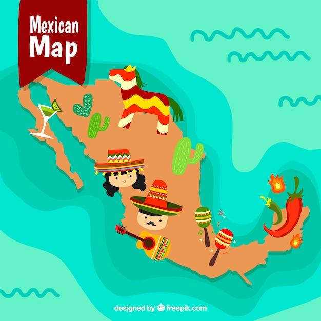 Mappa messicana con elementi culturali Vettore gratuito