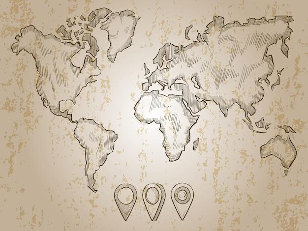 Mappa mondo disegnato a mano dell'annata e perni di doodle Vettore Premium
