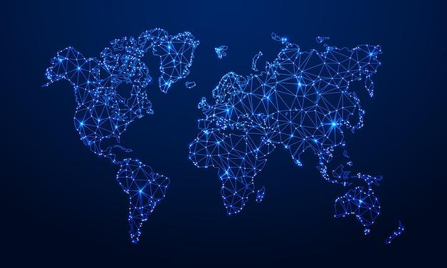 Mappa poligonale mappa del globo di digital, mappe blu della terra dei poligoni e illustrazione di griglia del collegamento a internet 3d del mondo Vettore Premium