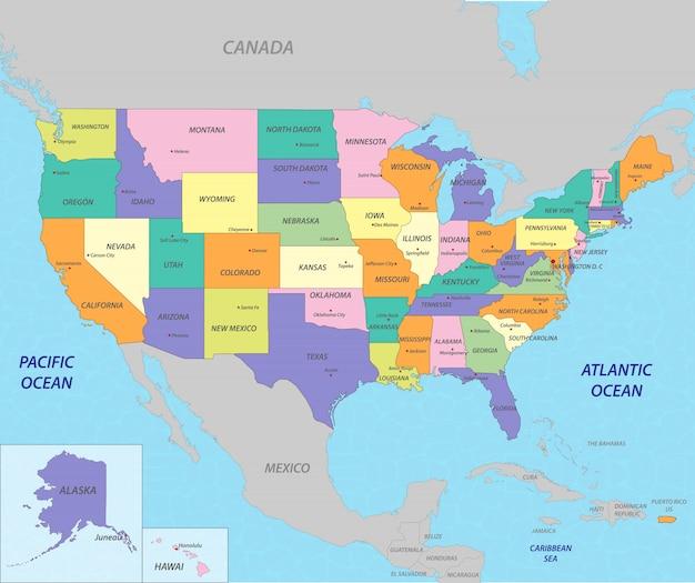 Mappa stati uniti d'america Vettore Premium