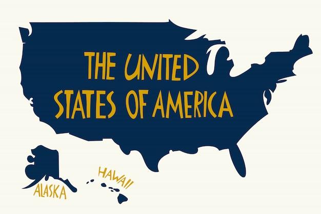 Mappa stilizzata disegnata a mano degli stati uniti d'america. Vettore Premium