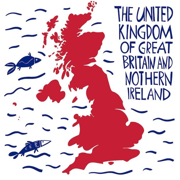 Mappa stilizzata disegnata a mano del regno unito. Vettore Premium
