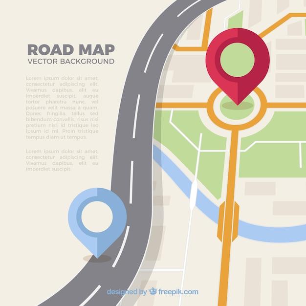 Mappa stradale con puntatori in stile piatto Vettore gratuito