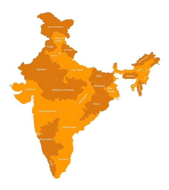Mappa vettoriale di tutti gli stati dell'india Vettore Premium