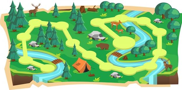 Mappe di gioco 2d di foresta giungla con percorso e terra verde Vettore Premium
