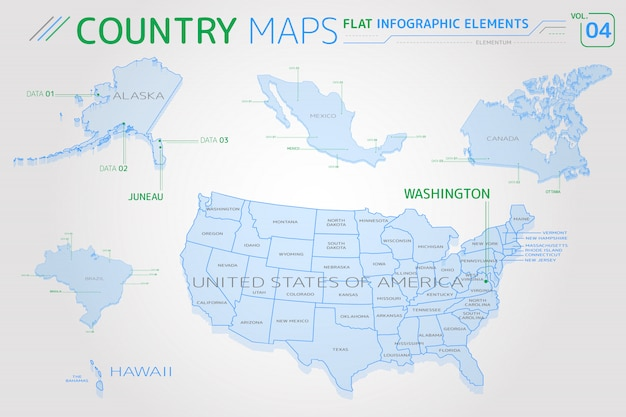 Mappe vettoriali di stati uniti d'america, alaska, hawaii, messico, canada e brasile Vettore Premium