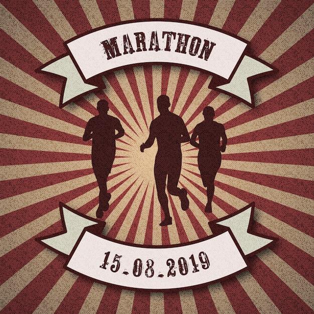 Maratona logo Vettore Premium
