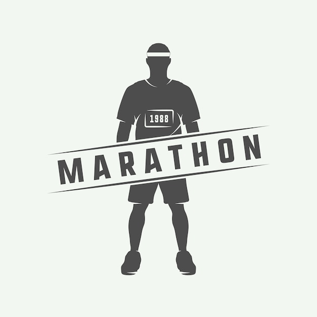 Maratona o eseguire logo Vettore Premium
