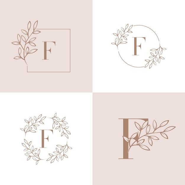 Marchio della lettera f con elemento foglia di orchidea Vettore Premium