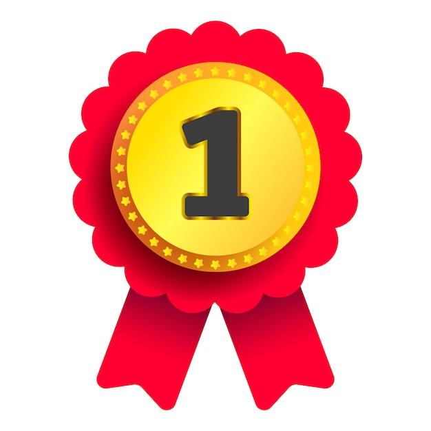 Marchio di qualità medaglia d'oro con nastro rosso su sfondo bianco per il tuo progetto. vettore Vettore Premium