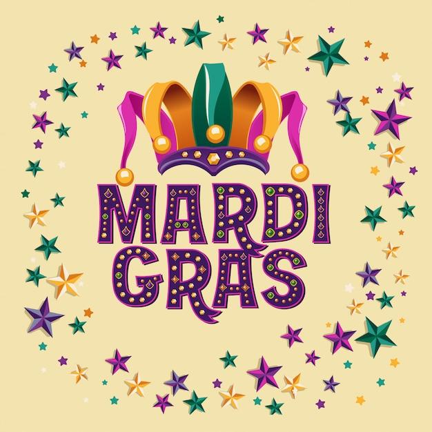 Mardi gras con jester hat e star Vettore Premium