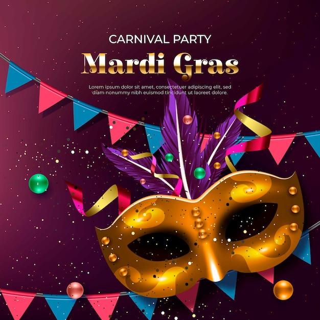 Mardi gras design realistico con maschere e ghirlande dorate Vettore gratuito