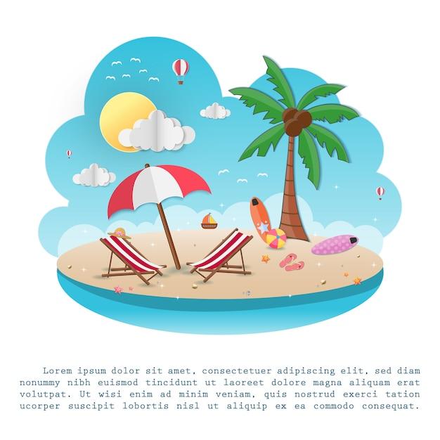 Mare in estate. vista del disegno sullo sfondo. Vettore Premium