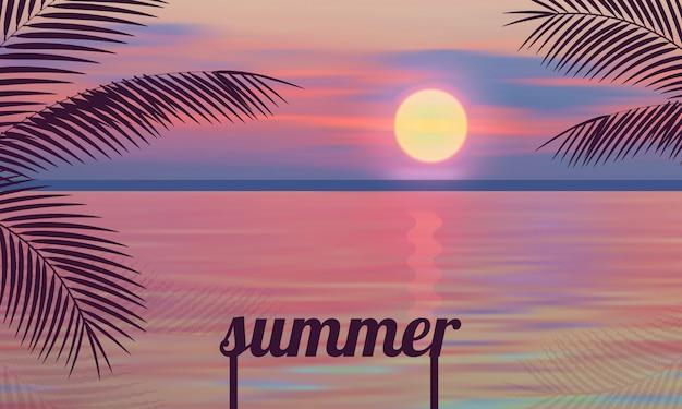 Mare rosa della palma delle illustrazioni di vettore di tramonto di estate Vettore Premium
