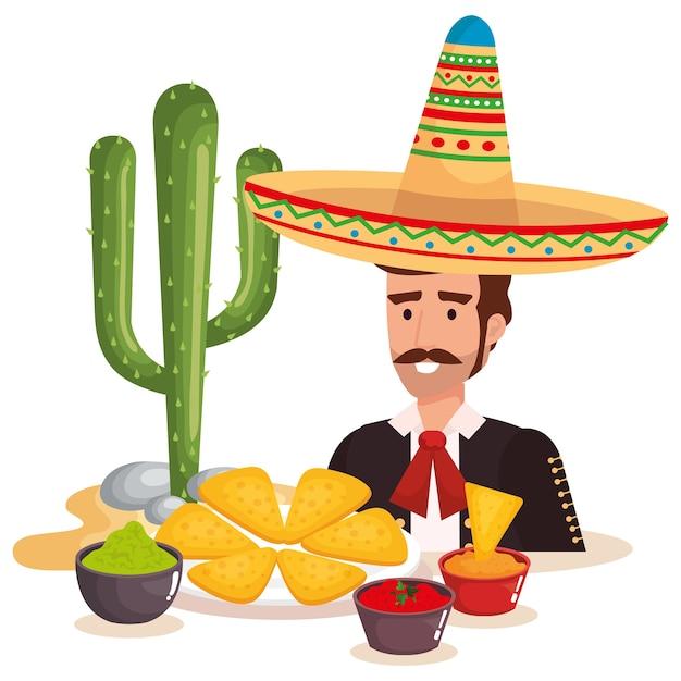 Mariachi messicani con carattere di cibo Vettore Premium