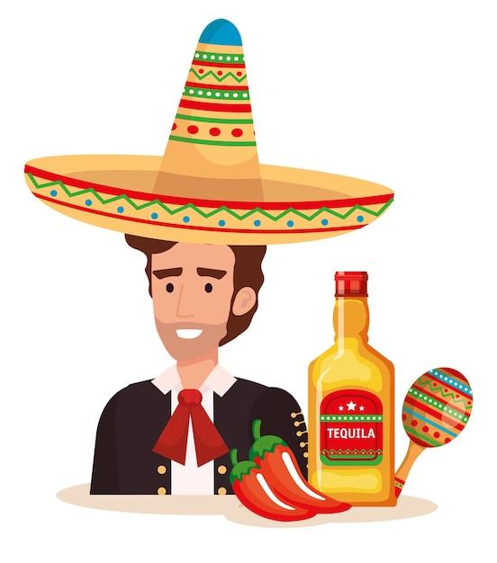 Mariachi messicano con il carattere delle icone dell'insieme Vettore Premium