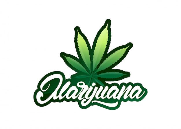 Marijuana in stile lettering con foglia Vettore Premium
