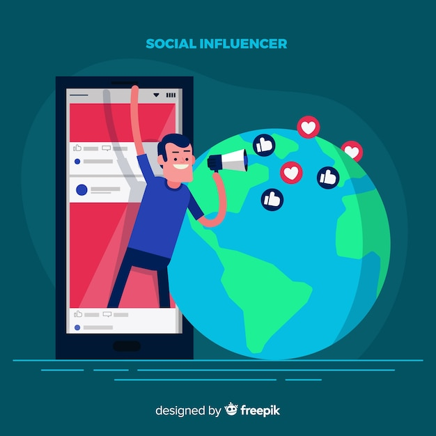 Marketing degli influencer sociali Vettore gratuito