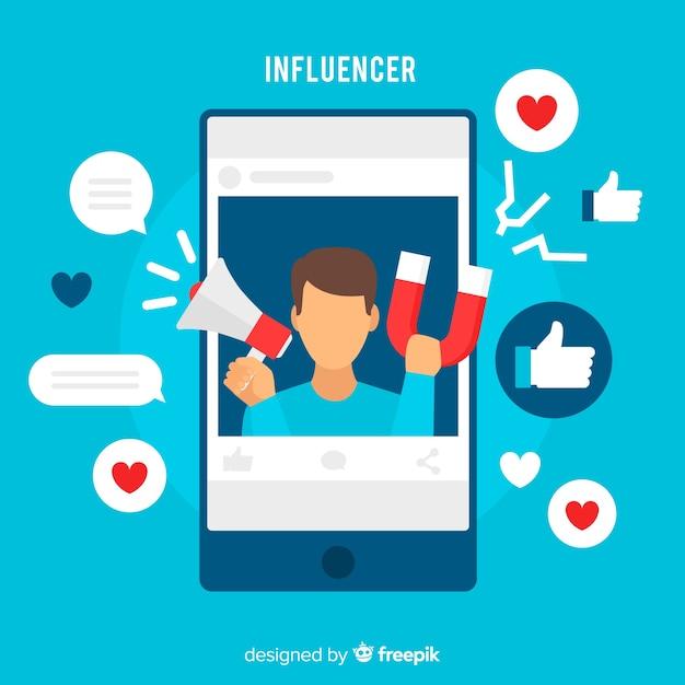 Marketing degli influencer sociali Vettore gratuito