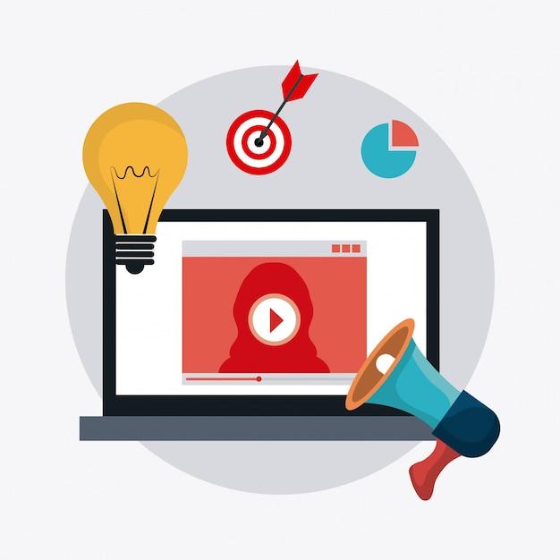 Marketing digitale e sociale Vettore Premium