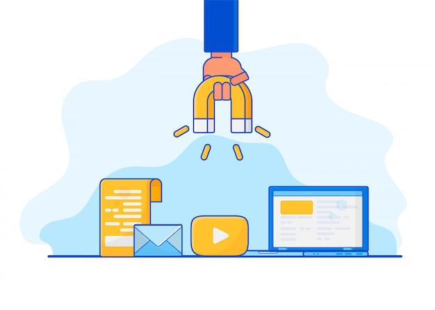 Marketing digitale in entrata. Vettore Premium