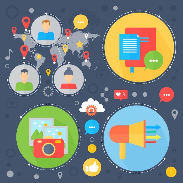 Marketing digitale infografica design concept piatto di social media. Vettore Premium