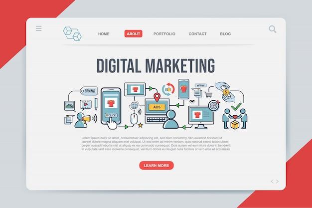 Marketing digitale modelli web della pagina di destinazione Vettore Premium