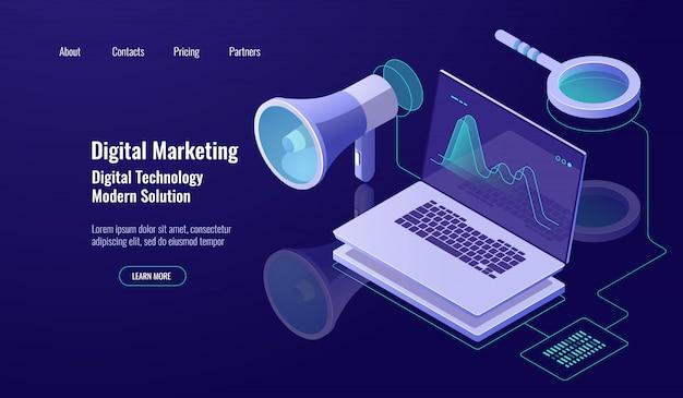 Marketing e promozione digitale, pubblicità online, altoparlante con laptop e lente d'ingrandimento Vettore gratuito