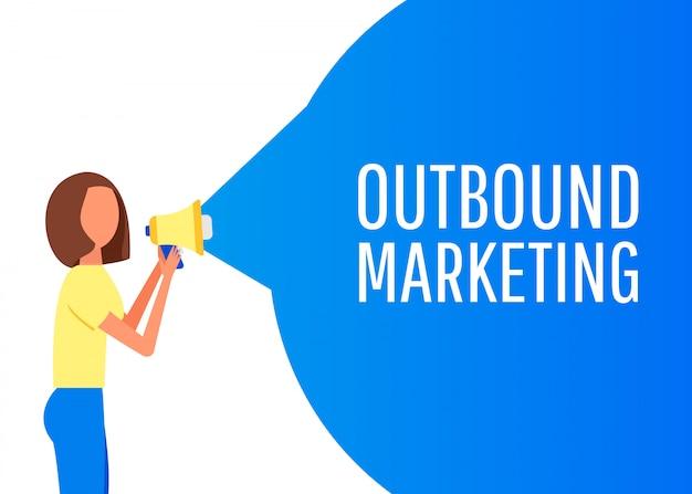 Marketing in uscita. etichetta del megafono. banner per affari, marketing e pubblicità. Vettore Premium