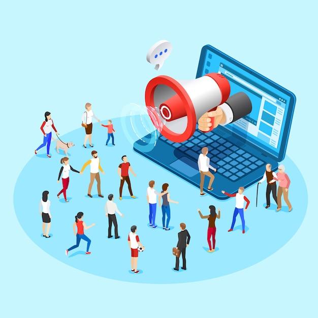 Marketing per la promozione web. pubblicità degli annunci sociali di radiodiffusione del megafono dall'illustrazione isometrica di concetto di vettore dello schermo del computer portatile Vettore Premium