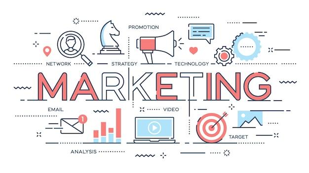 Marketing, promozione, pubblicità, seo, social media Vettore Premium